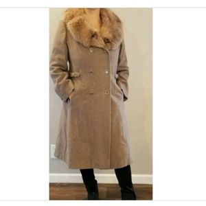 Vintage Double Breasted Long Wool Coat Fur? Collar